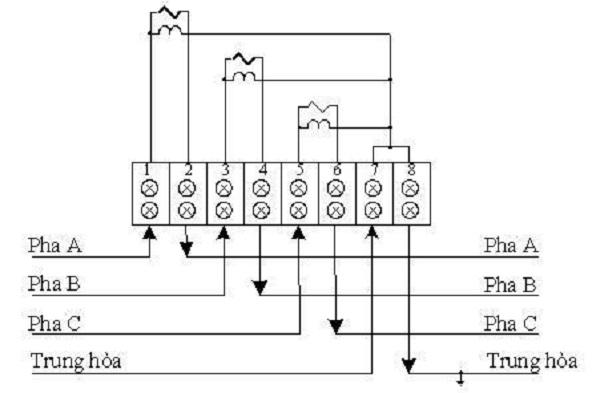sơ đồ cách đấu điện 3 pha trực tiếp